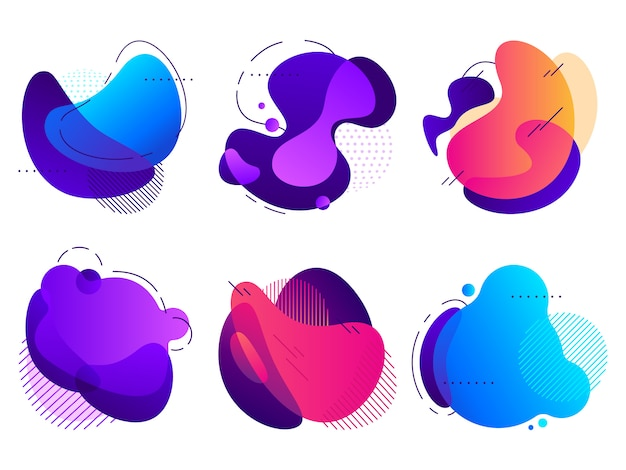 Colorful abstract shapes, saturated fluid gradients flux, organic shape with lines and dotted patterns