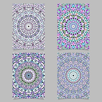 Colorful abstract stone kaleidoscope mandala pattern page background template set