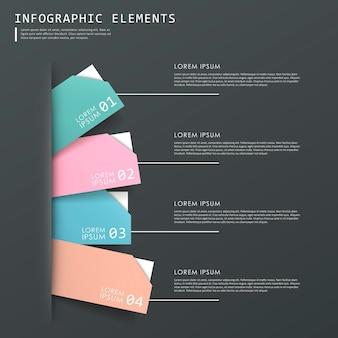 다채로운 추상적인 태그 infographic 요소 설정 템플릿