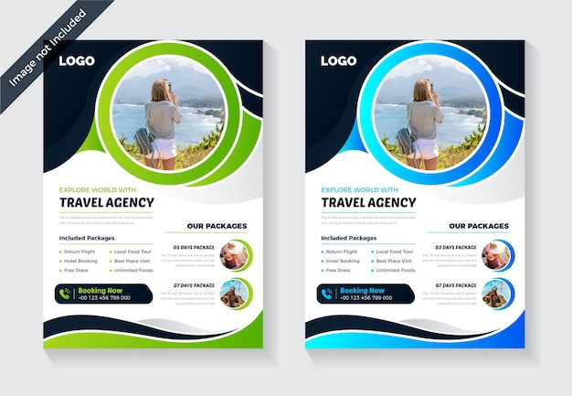 Colorful and abstract travel flyer design template creative and modern business flyer layout
