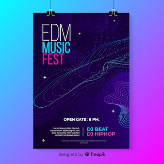 Colorful abstract waves music poster template