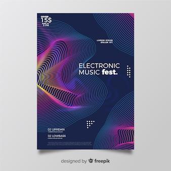 Шаблон плаката музыки красочные абстрактные волны