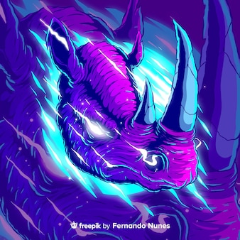 colorful abstract wild rhinoceros illustrated