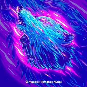 カラフルな抽象的なオオカミが描かれています
