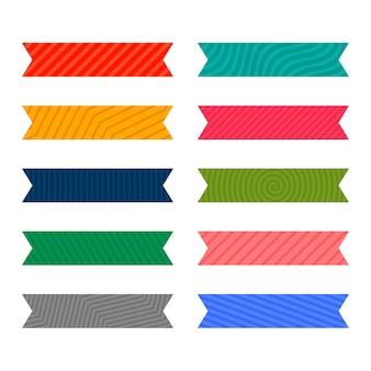 カラフルな粘着パターンのリボンまたはテープセット