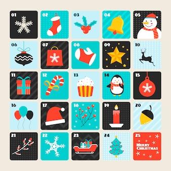 Colorful advent calendar in flat design