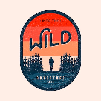 Colorful adventure into the wild badge logo