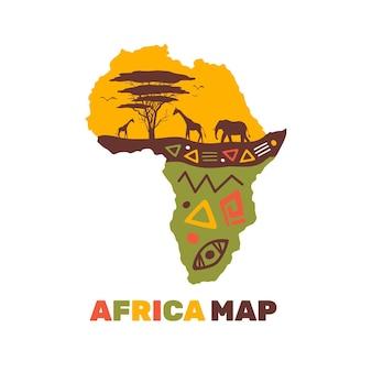 다채로운 아프리카지도 로고 템플릿