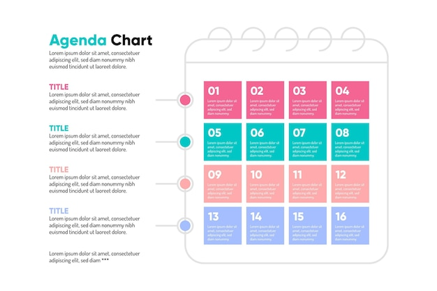 Colorful agenda chart infographic