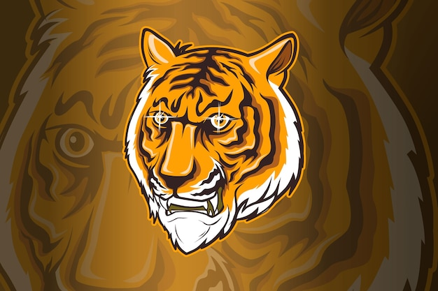Colorful aggressive strong tiger head