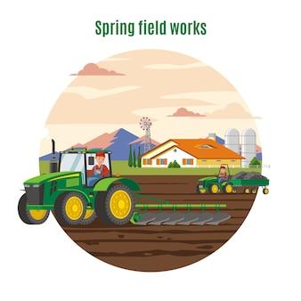 Красочная концепция сельского хозяйства и земледелия
