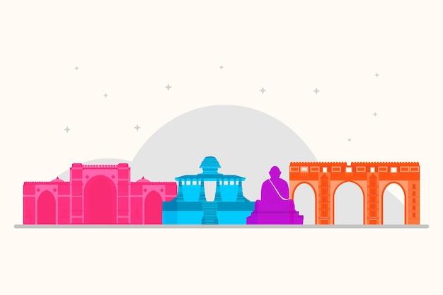 Colorful ahmedabad skyline theme