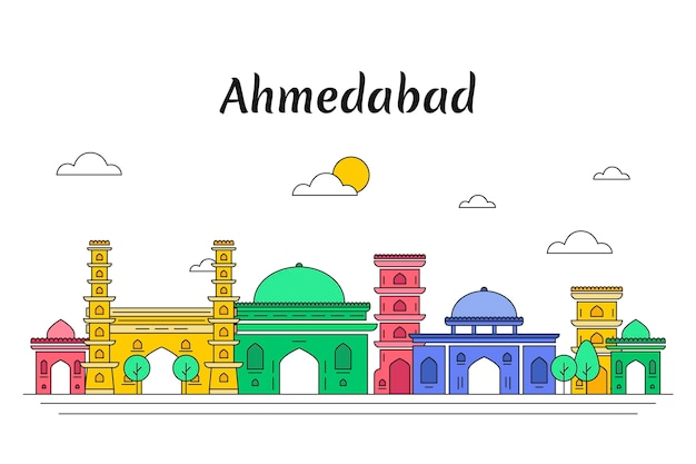 Colorful ahmedabad skyline
