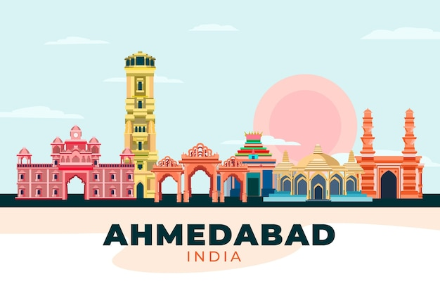 Colorful ahmedabad skyline