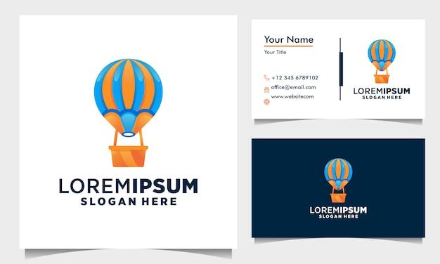 カラフルな気球のロゴデザイン、名刺テンプレートのカラフルなバルーンイラストコンセプト