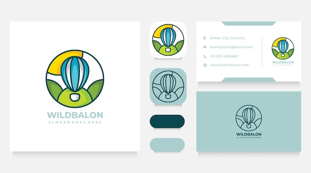 Colorful air balloon outdoors logo design and  business card template