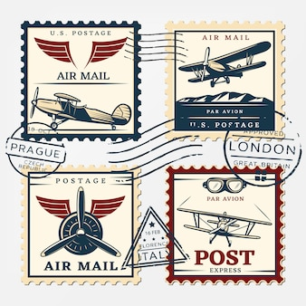 Colorful aircraft postage square stamps set