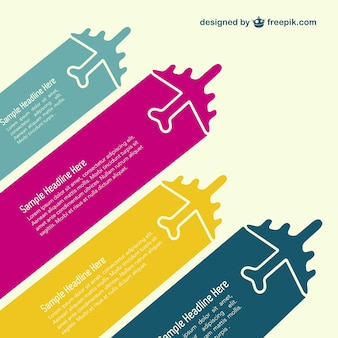 Colorful airplanes infographic