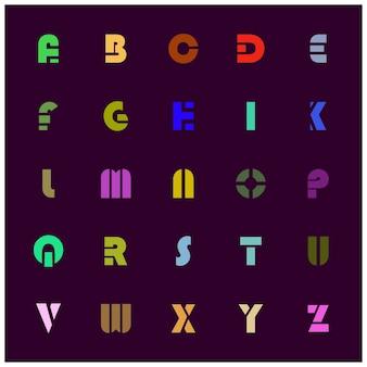 Красочный albhabetic новый жирный шрифт на фиолетовом фоне