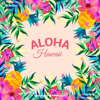 Colorful aloha background with flowers and pine cones