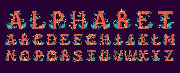 Colorful alphabet. floral design of the letter