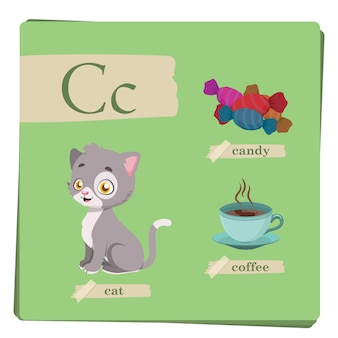 Colorful alphabet for kids - Letter C