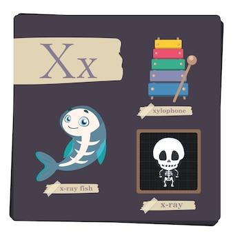 아이들을위한 다채로운 알파벳-문자 x