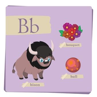 Colorful alphabet for kids - letter b
