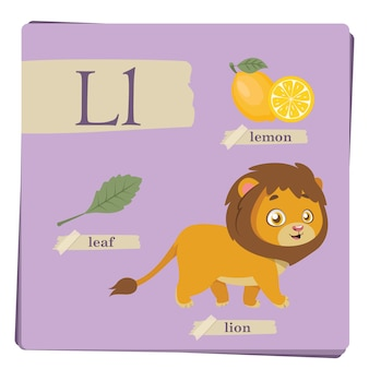 Colorful alphabet for kids - letter l