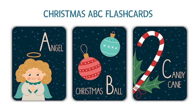 Colorful alphabet letters a, b, c. phonics flashcard. cute christmas themed abc cards for teaching reading with funny angel, christmas ball, candy cane. new year festive activity.