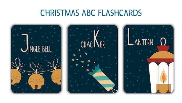 Colorful alphabet letters j, k, l. phonics flashcard. cute christmas themed abc cards for teaching reading with funny jingle bell, cracker, lantern. new year festive activity.