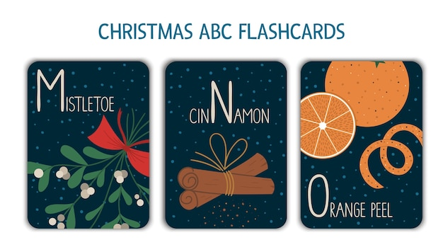 Colorful alphabet letters m, n, o. phonics flashcard. cute christmas themed abc cards for teaching reading with funny mistletoe, cinnamon, orange peel. new year festive activity.