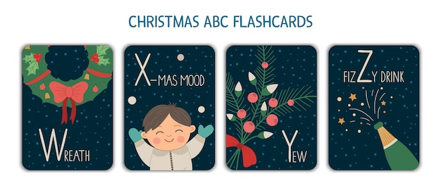 Colorful alphabet letters w, x, y, z. phonics flashcard. cute christmas themed abc cards for teaching reading with funny boy, wreath, champagne, yew. new year festive activity.