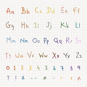 Colorful alphabet and number set on a white paper