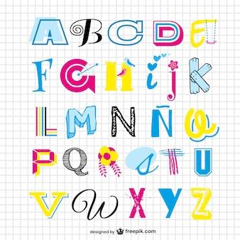 Вектор набора алфавита