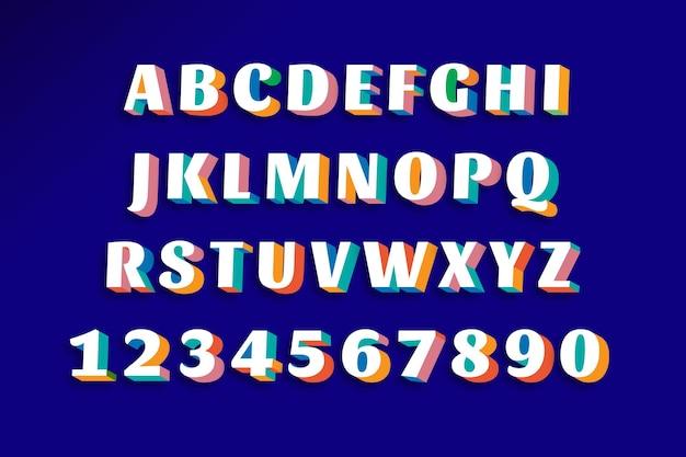 カラフルなアルファベットと数字、フォント