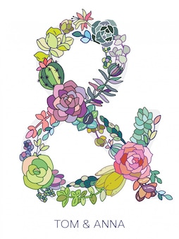Colorful ampersand made of succulent