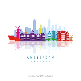 Colorful amsterdam skyline
