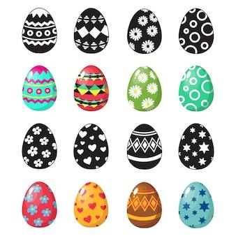 Установить красочные и черно-белые пасхальные яйца иконки