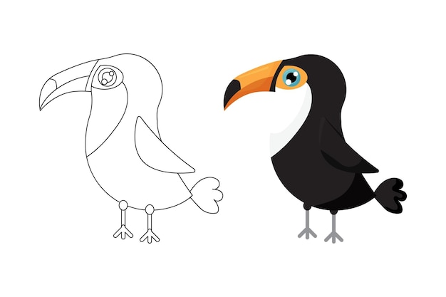 색칠을위한 화려하고 흑백 패턴 귀여운 큰 부리 새의 일러스트