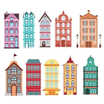 カラフルで明るいアムステルダム、オランダの都市の家の白い背景イラストを設定します。