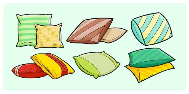 간단한 낙서 스타일의 화려하고 편안한 베개 컬렉션