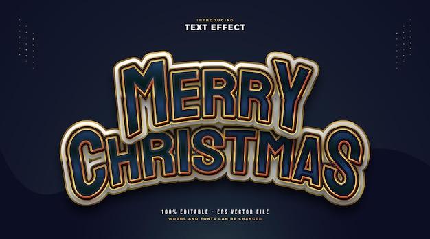 만화 스타일로 화려하고 우아한 메리 크리스마스 텍스트입니다. 편집 가능한 텍스트 스타일 효과