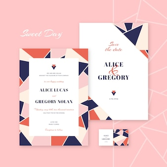 Colorful and elegant wedding invitation template