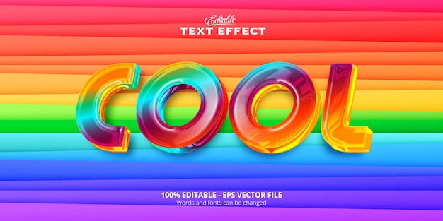 Красочный и пластиковый стиль, реалистичный редактируемый текстовый эффект, крутой текст