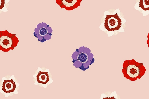 Colorful anemone floral pattern on nude pink background