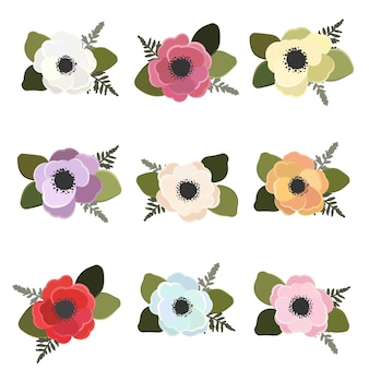 Colorful anemone flower bouquet collection flat style isolated on white background