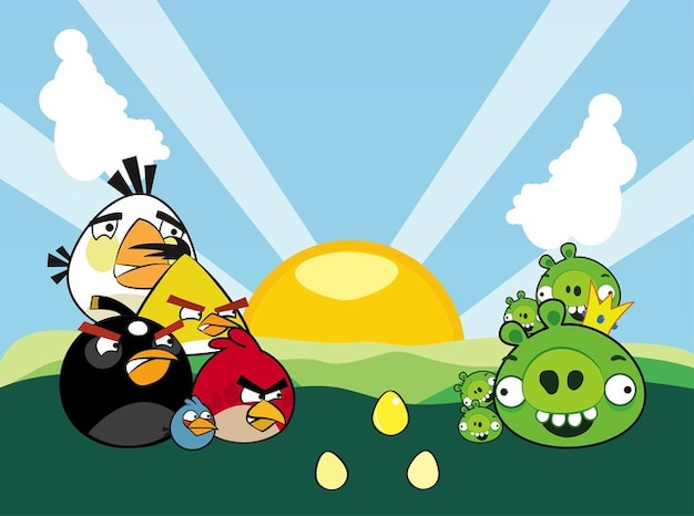 Colorful angry birds characters vector