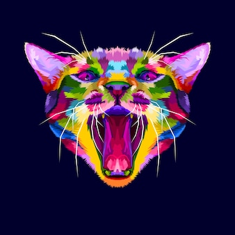 Colorful angry cat head, the cat growls, angry cat close up