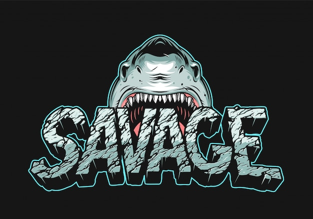 Colorful angry shark holding savage lettering
